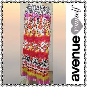 {Avenue} tie-dye boho maxi skirt, sz 22/24, new